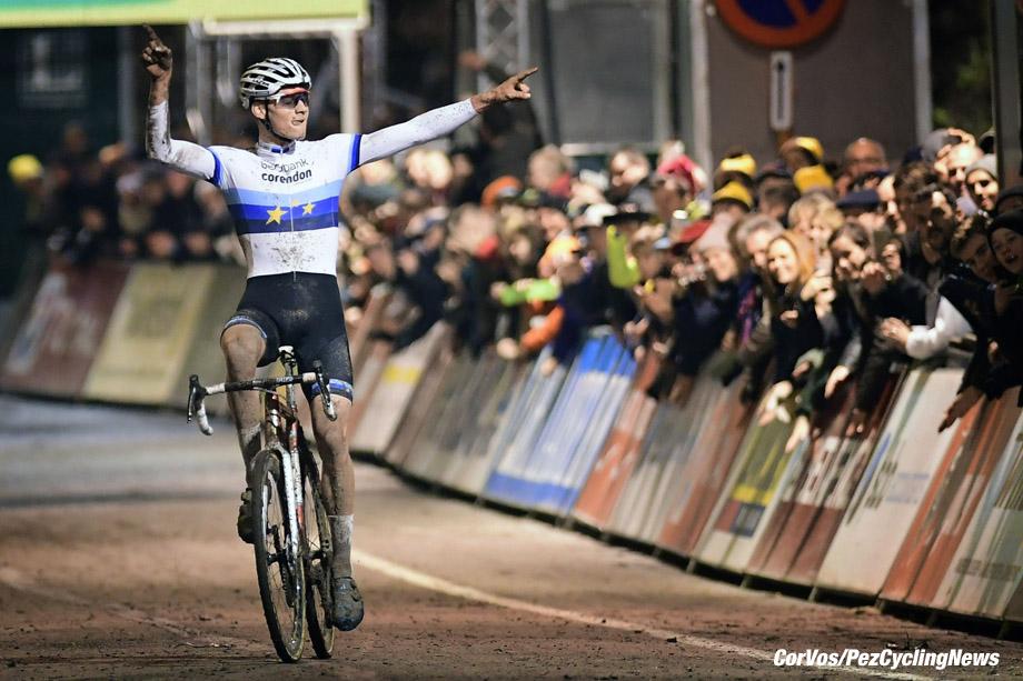 Diegem - Belgium - wielrennen - cycling - radsport - cyclisme -  Van Der Poel Mathieu (NED) of Beobank - Corendon celebrates the win pictured during  the men's elite Telenet Superprestige cyclocross race of Diegem, Belgium - photo NV/PN/Cor Vos © 2017