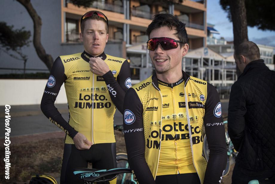 Sant Feliu de Guixois  - wielrennen - cycling - cyclisme - radsport -  Primoz ROGLIC (Slowenia / Team Lotto NL - Jumbo) - Steven KRUIJSWIJK (Netherlands / Team Lotto NL - Jumbo) pictured during trainingscamp Team LottoNL-Jumbo in Spain on december 21-2017 - foto: Carla Vos/Cor Vos © 2017