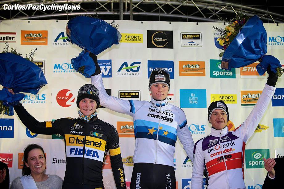 Overijse - Belgium - wielrennen - cycling - cyclisme - radsport -Van Kessel Corne (NED) of Telenet - Fidea Lions, Van Der Poel Mathieu (NED) of Beobank - Corendon and Meeusen Tom (BEL) of Beobank - Corendon pictured during the druivencross in Overijse on December 10, 2017 in Overijse, Belgium, 10/12/2017. - photo TS/PN/Cor Vos © 2017