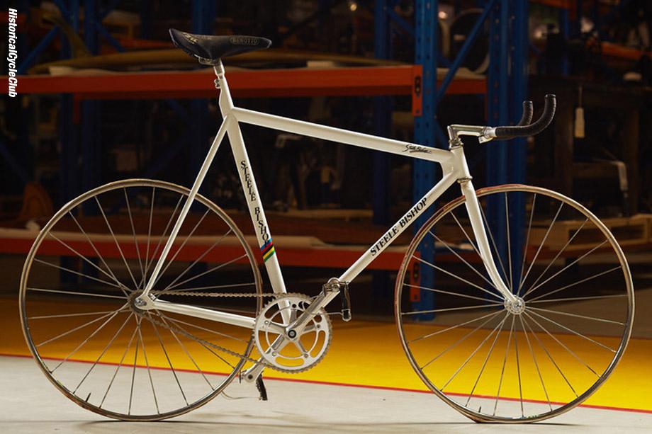 Steele Bishop with his world championship bike at the WA Museum store