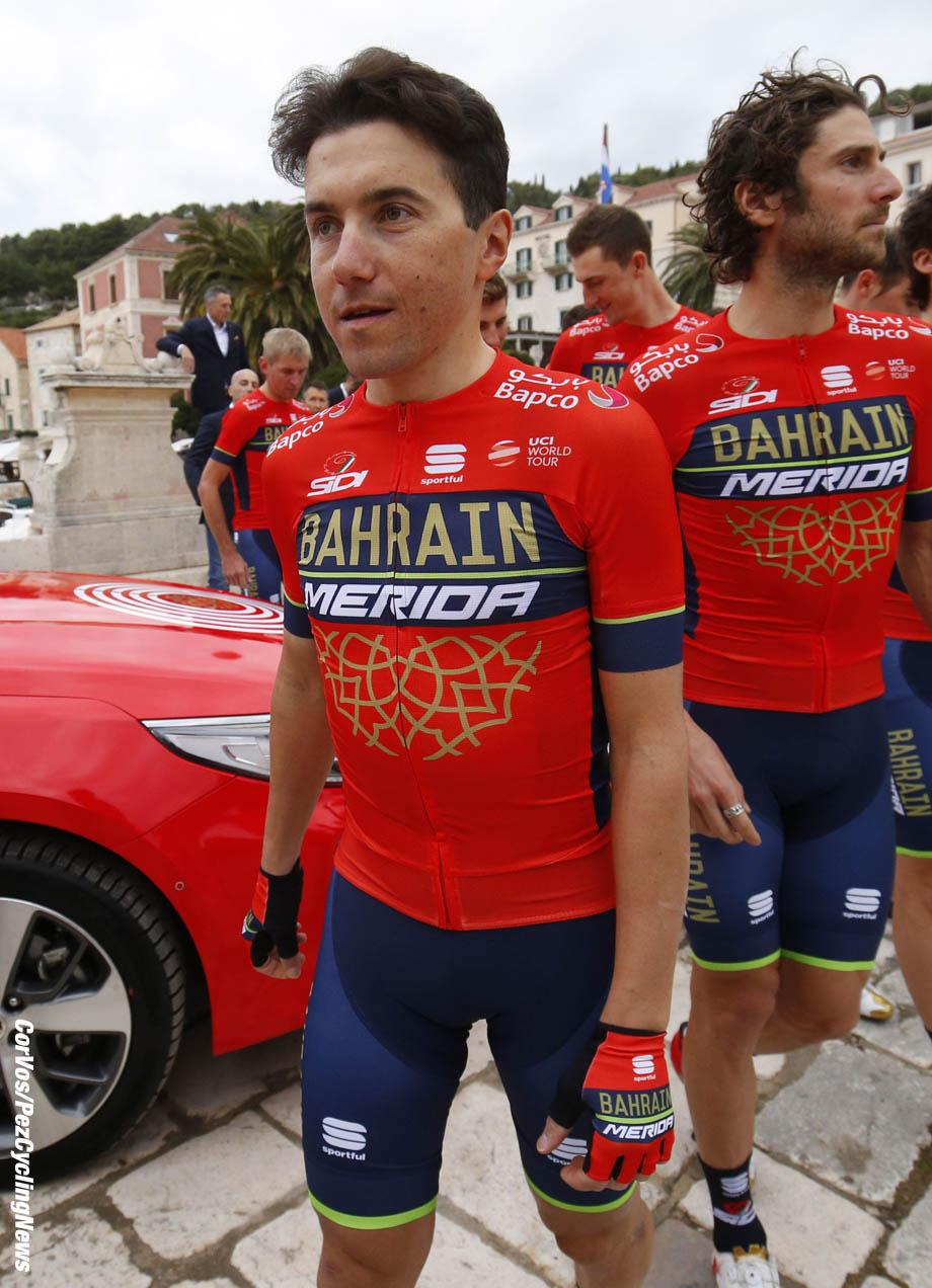 Hvar - Croatia - wielrennen - cycling - cyclisme - radsport - Domenico Pozzovivo (ITA - Bahrain - Merida) pictured during photoshoot - Bahrain - Merida 2018 - photo LB/RB/Cor Vos © 2018
