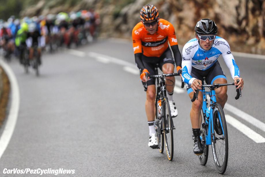 Mallorca - Spain - wielrennen - cycling - cyclisme - radsport - Sondre Holst Enger (NOR - Israel Cycling Academy) -  (Netherlands / Team Roompot Nederlandse Loterij)  pictured during the Trofeo Serra de Tramuntana (1.1) a one Day Race from Serra de Tramuntana to Deia (140.1KM) - photo Luis GomezCor Vos © 2018