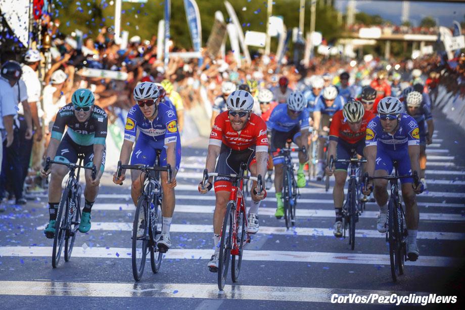 San Juan  - Argentina- wielrennen - cycling - cyclisme - radsport -  Giacomo Nizzolo (ITA - Trek - Segafredo) - Maximiliano Richeze (ARG - QuickStep - Floors) - Jose' Alvaro Hodeg (COL - QuickStep - Floors) - Pascal Ackermann (GER - Bora - Hansgrohe) pictured during Vuelta a San Juan 2018 - 36th Edition - stage 7 - from  San Juan  :  San Juan   (141.3KM) - photo ilario Biondi/LB/RB/Cor Vos © 2018