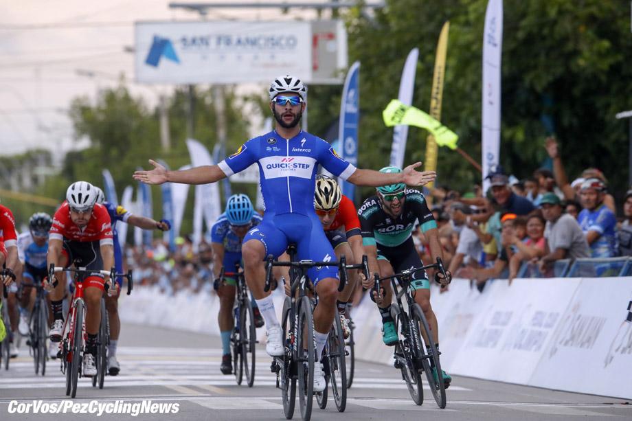 Pocito - Argentina- wielrennen - cycling - cyclisme - radsport -   Fernando Gaviria (COL - QuickStep - Floors) - Niccolo Bonifazio (ITA - Bahrain - Merida) - Matteo Pelucchi (ITA - Bora - Hansgrohe)  pictured during Vuelta a San Juan 2017 - 36th Edition - stage 1 - from San Juan to Pocito 148,9 km - photo ilario Biondi/LB/RB/Cor Vos © 2018
