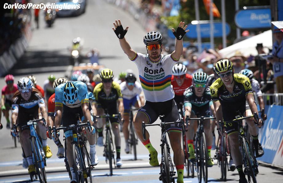 Uraidla - Australia - wielrennen - cycling - cyclisme - radsport - Peter SAGAN (Slowakia / Team Bora - hansgrohe) - Daryl IMPEY (South Africa / Team Mitchelton - Scott) pictured during 20th Santos Tour Down Under (2.UWT) stage -4 from Norwood to Uraidla (128.2KM) - photo Dion Kerckhoffs/Cor Vos © 2018