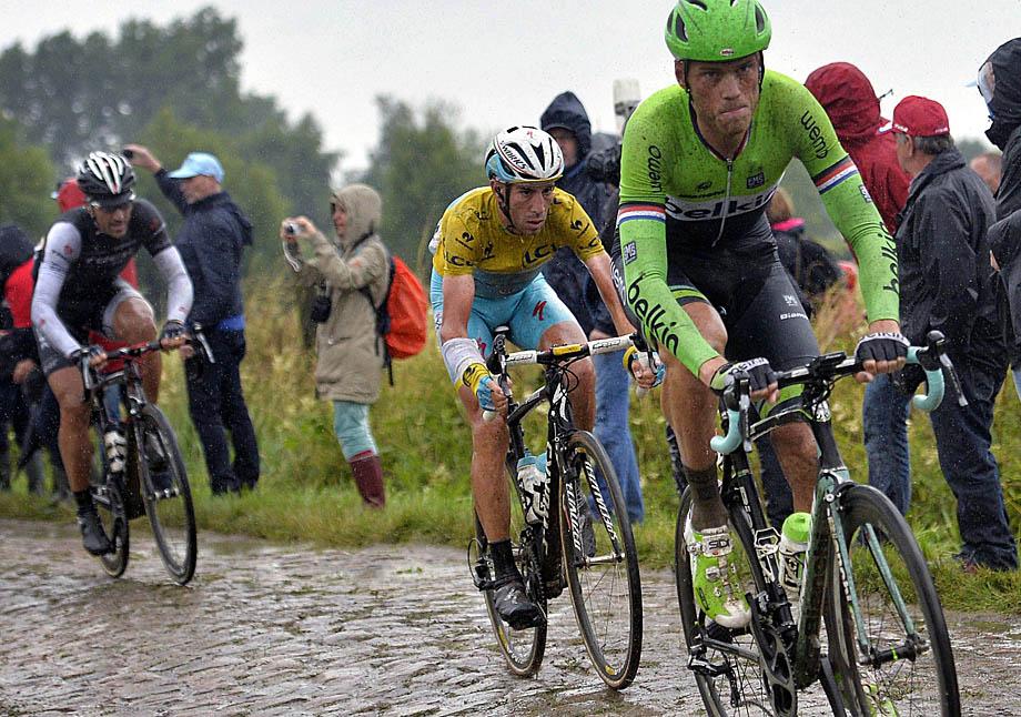 Arenberg Porte du Hainaut  - France - wielrennen - cycling - radsport - cyclisme - Lars Boom (Ned-Team Belkin-Pro Cyclingteam) - Vincenzo Nibali (Ita-Astana Pro Team) - Fabian Cancellara (Zwi-Trek Factory Racing Team)   pictured during  stage - 5 of the 101th Tour de Fance 2014 - from  Ypres (Ieper- Belgium)- Arenberg Porte du Hainaut - PDV/VK/Cor Vos © 2014