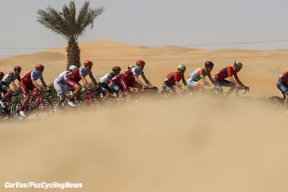 Adnoc School - Abu Dhabi - wielrennen - cycling - cyclisme - radsport - illustration - scenery - carte postal scenic shot - postcard sfeerfoto - sfeer - illustratie  pictured during the 2018 Abu Dhabi Tour stage 1 from Madinat Zaya to Adnoc School (189KM) - photo LB/RB/Cor Vos © 2018
