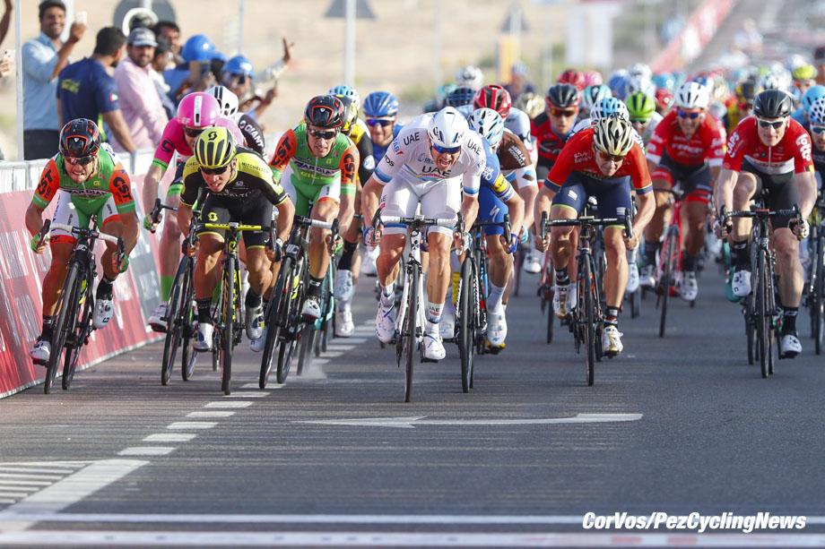 Adnoc School - Abu Dhabi - wielrennen - cycling - cyclisme - radsport -  Alexander Kristoff (NOR - UAE Team Emirates) - Andrea Guardini (ITA - Bardiani - CSF) - Elia Viviani (ITA - QuickStep - Floors) - Caleb Ewan (AUS - Mitchelton - Scott)† pictured during the 2018 Abu Dhabi Tour stage 1 from Madinat Zaya to Adnoc School (189KM) - photo LB/RB/Cor Vos © 2018