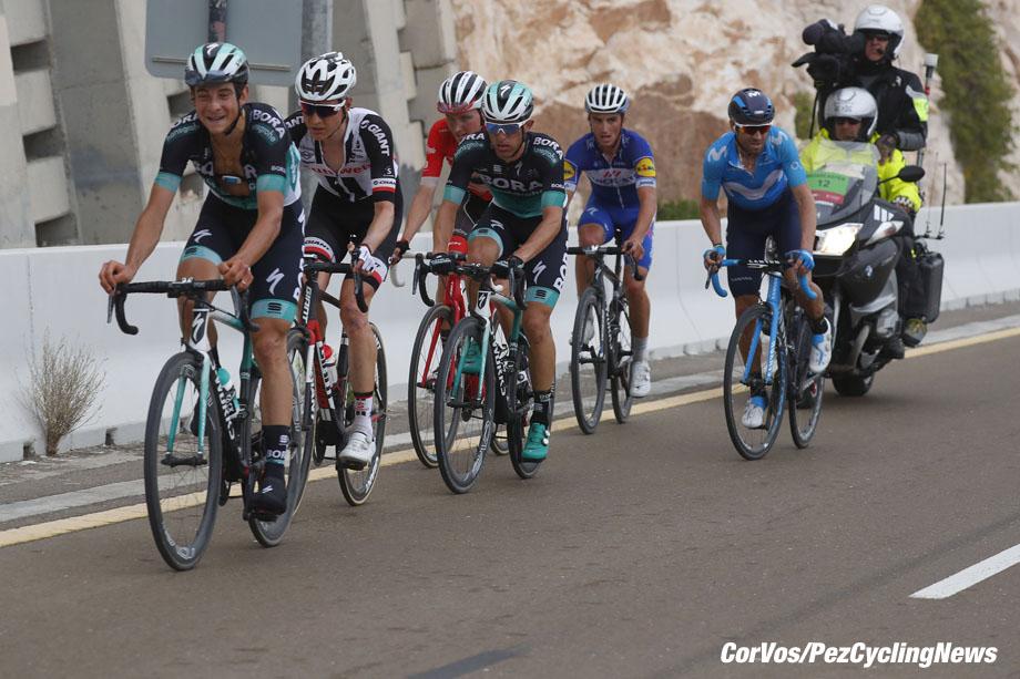 Jebel Hafeet - Abu Dhabi - wielrennen - cycling - cyclisme - radsport - Davide Formolo (ITA - Bora - Hansgrohe) - Rafal Majka (POL - Bora - Hansgrohe) - Wilco Kelderman (NED - Team Sunweb) pictured during the 2018 Abu Dhabi Tour stage 5 from Qasr Al Muwaiji to Jebel Hafeet (199KM) - photo LB/RB/Cor Vos © 2018