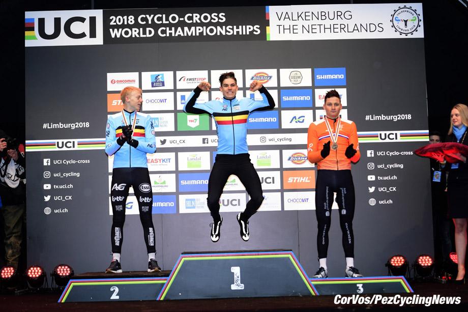 Valkenburg - Netherlands - wielrennen - cycling - cyclisme - radsport - Vanthourenhout Michael (Bel) - Wout VAN AERT (Belgium / Team Verandas Willems - Crelan) - Mathieu van der Poel (NED) pictured during the World Championships Cyclocross for elite men in Valkenburg, Netherlands - photo PN/Cor Vos © 2018 - photo PN/Cor Vos © 2018