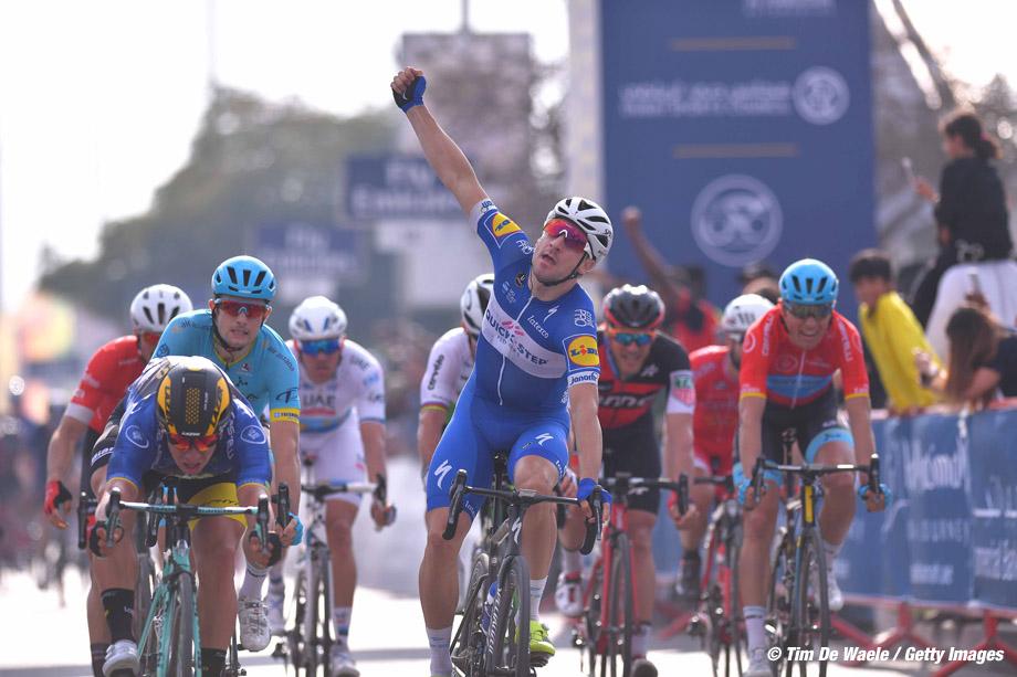 Cycling: 5th Tour Dubai 2018 / Stage 2 Arrival / Elia Viviani of Italy Celebration / Dylan Groenewegen of The Netherlands Blue Leader Jersey /  Skydive Dubai - Al Khaimah (190km)/  Ras Al Khaimah Stage / Dubai Tour  / © Tim De Waele
