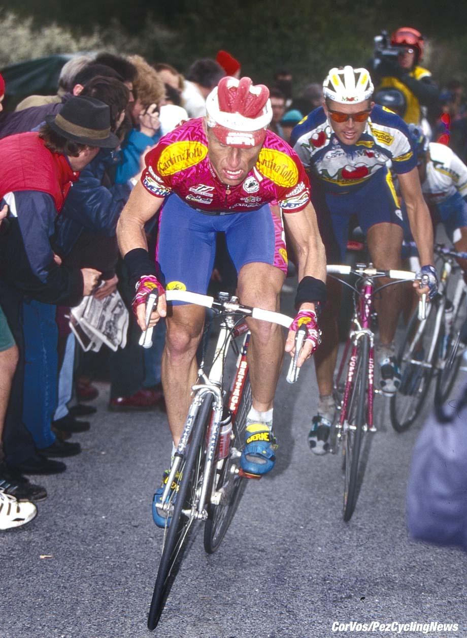 Liege - Belgium - wielrennen - cycling - cyclisme - radsport -   Heinz IMBODEN -Rolf SOERENSEN pictured during Liege - Bastogne - Liege 1995 - photo Cor Vos © 2018