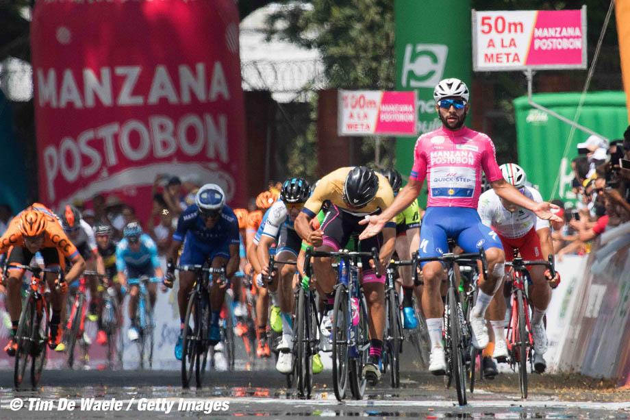 Cycling: 1st Colombia Oro y Paz 2018 / Stage 2 Arrival / Fernando Gaviria Rendon (COL) Pink Leader Jersey Celebration / Juan Sebastinn Molano Benavides (COL) Gold Points Jersey Disappointment /  Palmira - Palmira (183,4km)/ Estadio Palmira / © Maximiliano Blanco
