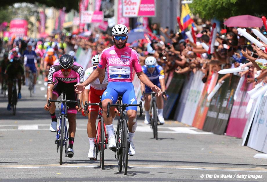 Cycling: 1st Colombia Oro y Paz 2018 / Stage 3 Arrival / Fernando Gaviria Rendon (COL) Pink Leader Jersey Celebration / Matteo Malucelli (ITA)/ Juan Sebastinn Molano Benavides (COL)/  Palmira - Buga (163,2km)/ © Maximiliano Blanco