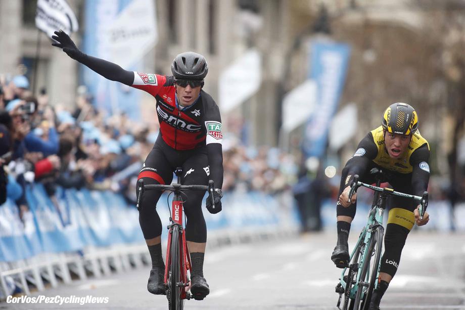Valencia - Spain - wielrennen - cycling - cyclisme - radsport - Jurgen ROELANDTS (Belgium / BMC Racing Team) - Danny van POPPEL (Netherlands / Team Lotto NL - Jumbo) pictured during stage 5 of the Volta a la Comunitat Valenciana from Paterna to Valencia (135KM) - photo Luis Gomez/Cor Vos © 2018