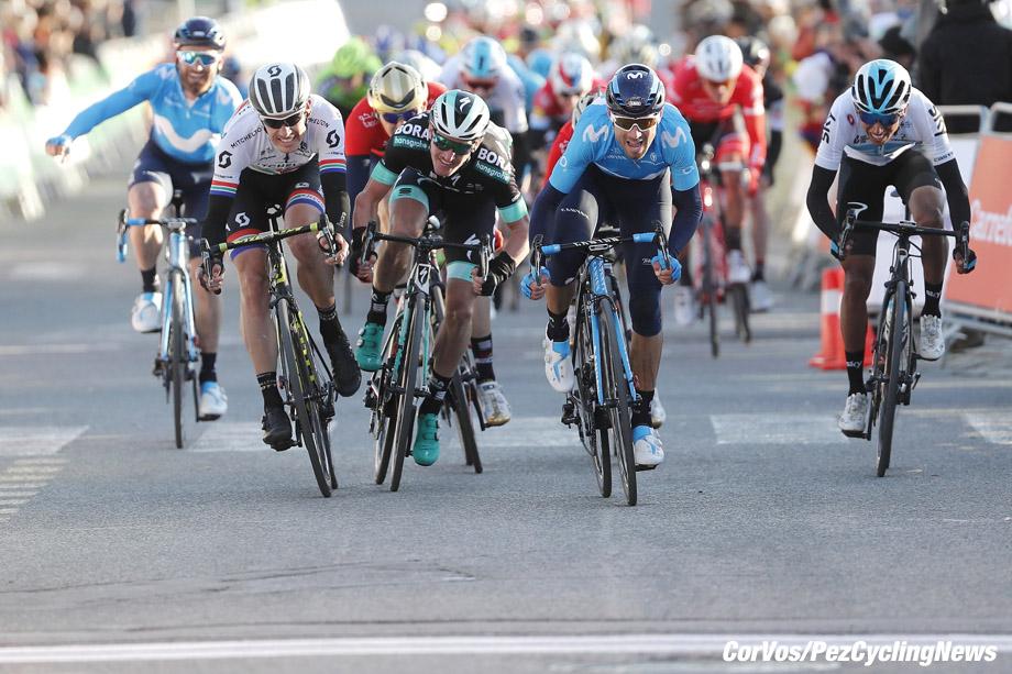 Valls p Spain - wielrennen - cycling - cyclisme - radsport -  Alejandro VALVERDE BELMONTE (Spain / Team Movistar) - Daryl IMPEY (South Africa / Team Mitchelton - Scott) - Jay MCCARTHY (Australia / Team Bora - hansgrohe) pictured during     98th Volta Ciclista a Catalunya (2.UWT) stage 2 from Mataró to Valls (175.6KM) - 20-03-2018 - photo Luis Gomez/Cor Vos © 2018
