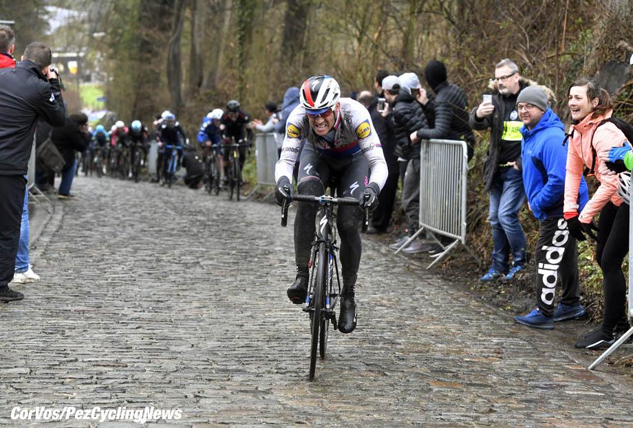 Waregem - Belgium - wielrennen - cycling - cyclisme - radsport - STYBAR Zdenek (CZE) of Quick - Step Floors during the Flanders Classics UCI World Tour 73rd Dwars door Vlaanderen cycling race with start in Roeselare and finish in Waregem March 28, 2018 in Waregem, Belgium, 28/03/2018 - photo PdV/PN/Cor Vos © 2018