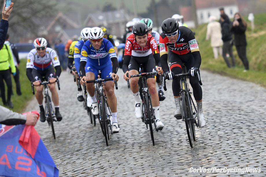 Harelbeke - Belgium - wielrennen - cycling - cyclisme - radsport - GILBERT Philippe (BEL) of Quick - Step Floors, VAN AVERMAET Greg (BEL) of BMC Racing Team, BENOOT Tiesj (BEL) of Lotto Soudal pictured during Record Bank E3 Harelbeke 2018 (1UWT) a one day men's elite race from Harelbeke to Harelbeke (206.5KM) 23-03-2018 - photo VK/PN/Cor Vos © 2018