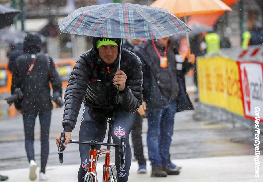 Sanremo - Italy - wielrennen - cycling - cyclisme - radsport -  illustration - scenery - carte postal scenic shot - postcard sfeerfoto - sfeer - illustratie start in Milano - Filippo Pozzato (ITA - Wilier Triestina - Selle Italia) pictured during  Milano-Sanremo (1.UWT) a one day race  from Milano to Sanremo (291KM) - photo LB/RB/Cor Vos © 2018