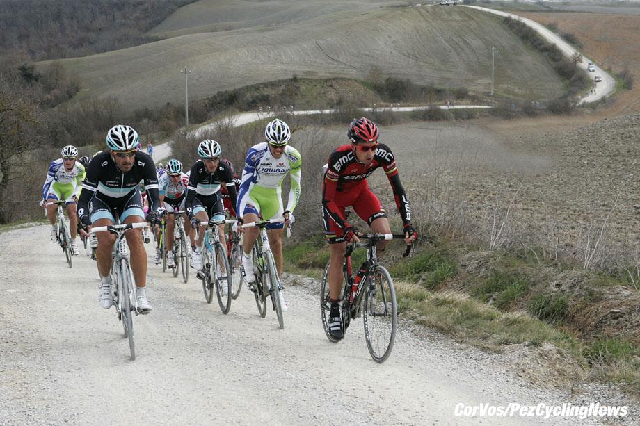 Siena - Italia - wielrennen - cycling - radsport - cyclisme - Montepaschi Strade Bianche - Eroica Toscana. - Fabian Cancellara , Daniel Oss , Andy Schleck, Alessandro Ballan  - foto Claudio Minardi/Cor Vos ©2011