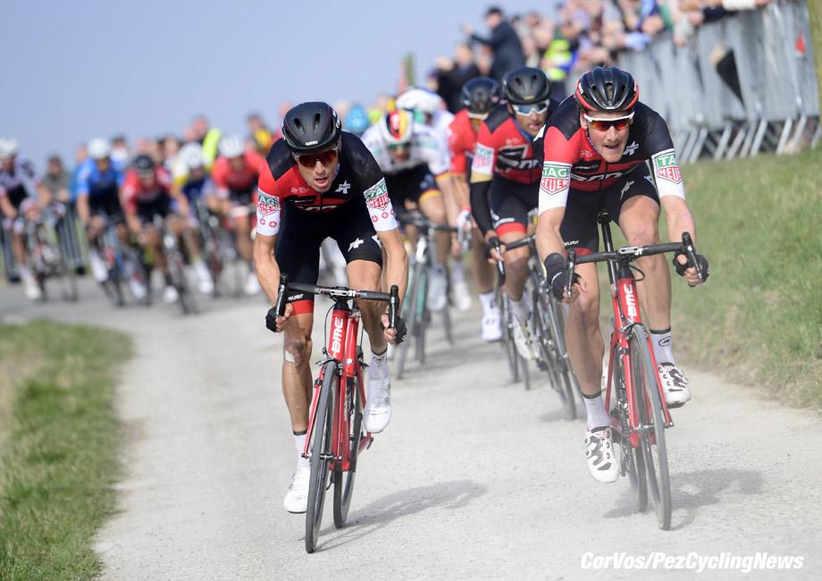 Wevelgem - Belgium - wielrennen - cycling - cyclisme - radsport - Stefan KUNG (Swiss / BMC Racing Team) - Jurgen ROELANDTS (Belgium / BMC Racing Team) pictured during Gent-Wevelgem In Flanders Fields (1.WWT) a one day men's elite race from Gent to Wevelgem 25-03-2018 - photo NV/PN/Cor Vos © 2018
