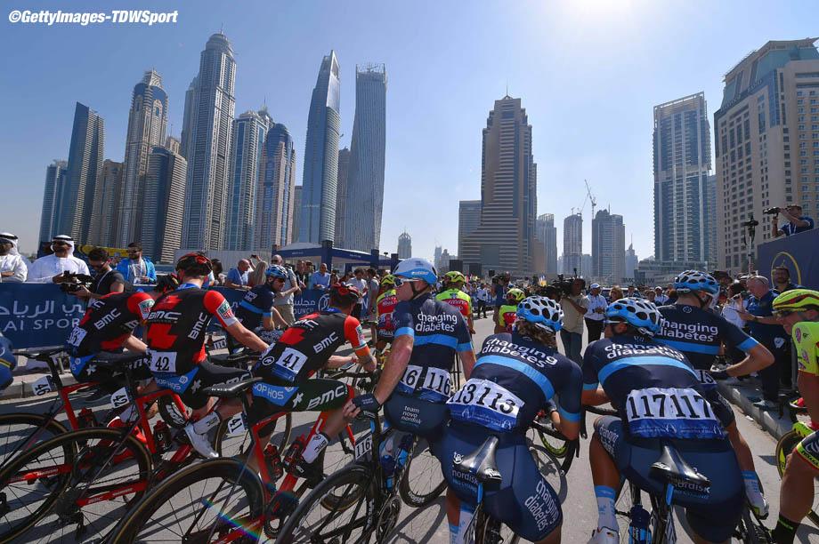 Cycling: 5th Tour Dubai 2018 / Stage 1 Start / Christopher Williams of Australia, Brian Kamstra of The Netherlands, Quentin Valognes of France / Team Novo Nordisk (USA)/ Team BMC Racing Team (USA)/  Skydive Dubai - Palm Jumeirah (167km)/  Nakheel Stage / Dubai Tour  / © Tim De Waele