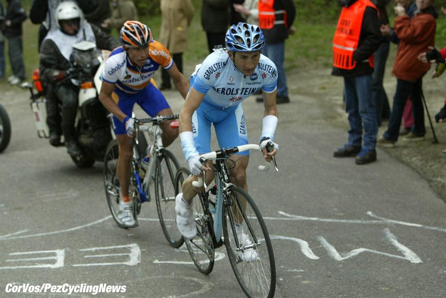Valkenburg: wielrennen-cycling-Amstel Gold Race- Davide Rebellin en Michael Boogerd -foto Cor Vos ©2004