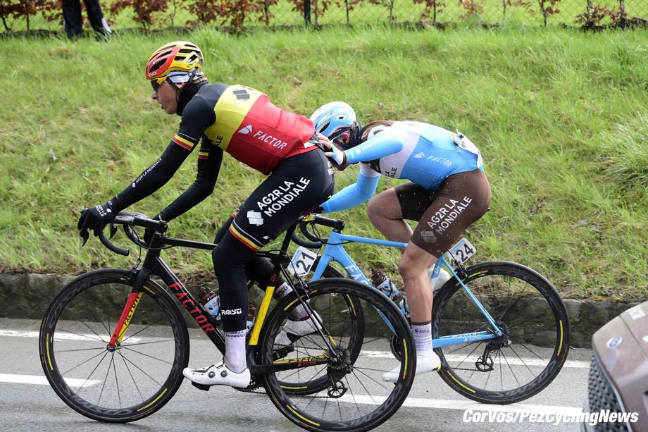 Oudenaarde - Belgium - wielrennen - cycling - cyclisme - radsport - illustration - scenery - carte postal scenic shot - postcard sfeerfoto - sfeer - illustratie Oliver NAESEN (Belgium / Team AG2R La Mondiale) - BARBIER Rudy and NAESEN Oliver (BEL) of AG2R La Mondiale pictured during the Ronde Van Vlaanderen 2018 - Elite men - a one day UCI world tour race between Antwerpen and Oudenaarde - photo NV/PN/Cor Vos © 2018