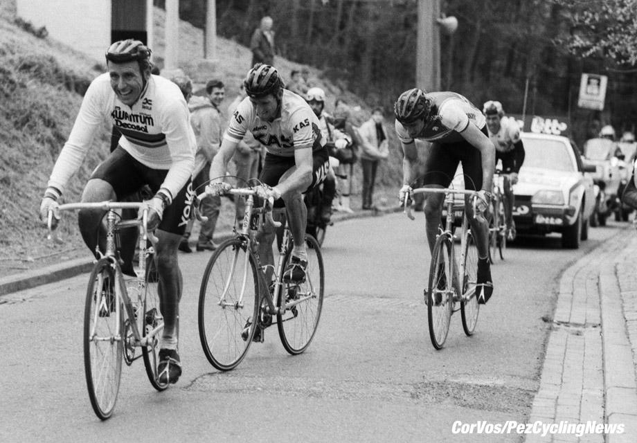 Huy - Belgium - wielrennen - cycling - cyclisme - radsport - stock - archieves - archive archief -  Joop ZOETEMELK - Sean KELLY and Johan VAN DER VELDE pictured during Fleche Wallone Elite 1986 - photo Cor Vos © 2018