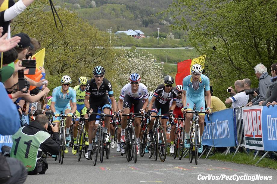 Ans - Belgium- wielrennen - cycling - radsport - cyclisme - Kanstantsin Siutsou (Team Sky) - Zdenek Stybar (Team Etixx - Quick Step) - Warren Barguil (Team Giant - Alpecin) - Rein Taaramae (Team Astana) on La Redoute climb pictured during Liege - Bastogne - Liege 2015 (1.UWT) - photo JB/VK/PN/Cor Vos © 2015