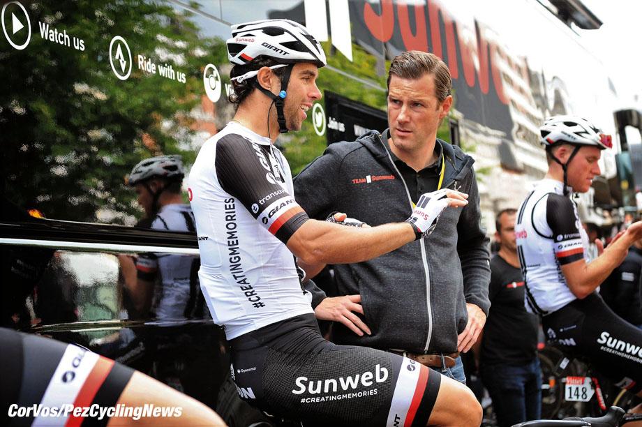 Liège - Belgium - wielrennen - cycling - cyclisme - radsport -  Aike VISBEEK (Netherlands / Sportdirector Team Sunweb) - Michael James MATTHEWS (Australia / Team Sunweb)  pictured during the 104th Tour de France 2017 - stage 2  - from Düsseldorf to Liège, 203.50 km - foto  Marketa Navratilova/Cor Vos © 2017