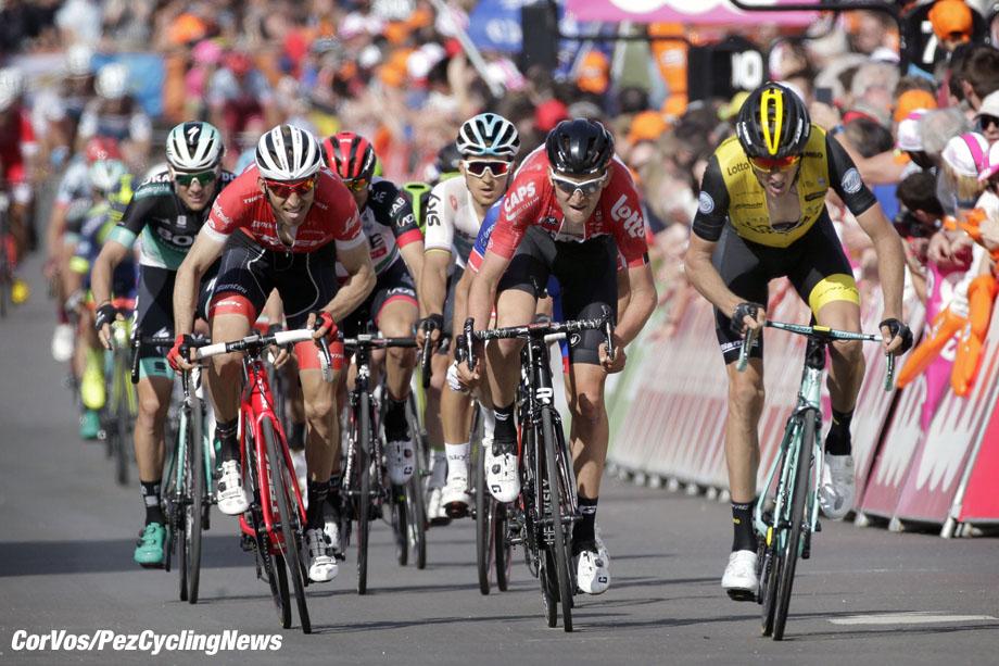 Ans - Belgium - wielrennen - cycling - cyclisme - radsport - Robert GESINK (Netherlands / Team Lotto NL - Jumbo) - Tim WELLENS (Belgium / Team Lotto Soudal) - Bauke MOLLEMA (Nerherlands / Team Trek Segafredo) pictured during the 104th Liège - Bastogne - Liège - world tour - a one day race between Liege and Ans in Belgium (258KM) - photo Davy Rietbergen/Cor Vos © 2018