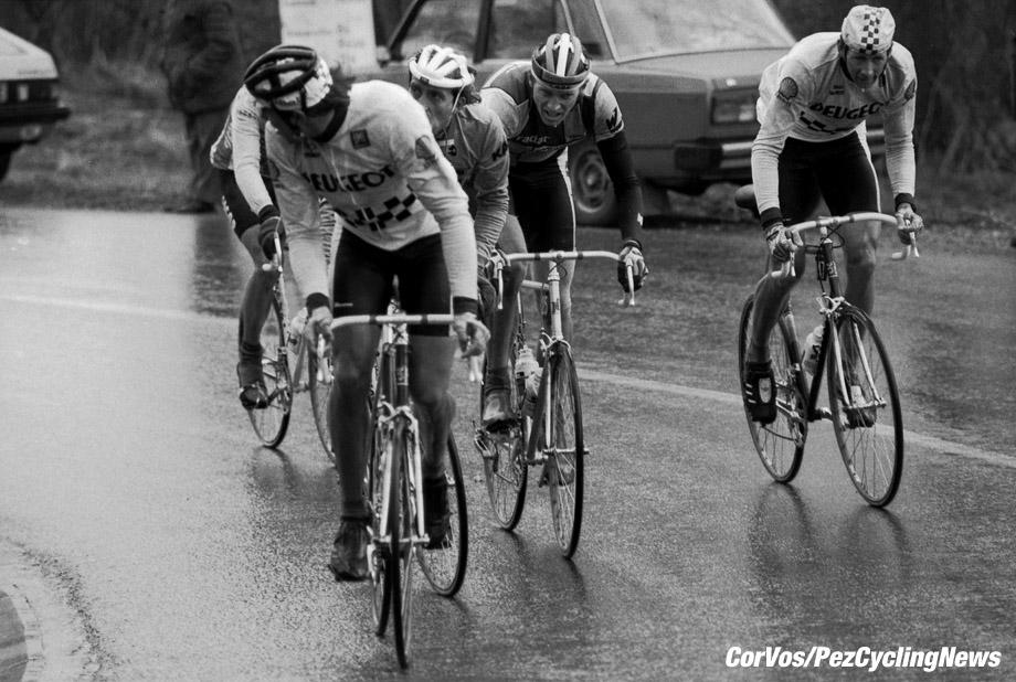 Liege - Belgium - wielrennen - cycling - cyclisme - radsport - Frederic BRUN - Kim ANDERSEN and Pascal SIMON  pictured during Luik - Bastenaken 1986 - Luik - photo Cor Vos © 2018