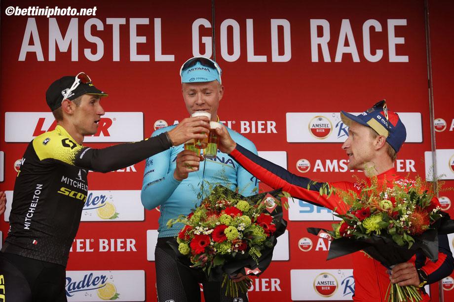 Amstel Gold Race 2018 - 53rd Edition - Maastricht - Berg en Terblijt 263 km - 15/04/2018 - Michael Valgren (DEN - Astana Pro Team) - Roman Kreuziger (CZE - Mitchelton - Scott) - Enrico Gasparotto (ITA - Bahrain - Merida) - photo Nico Vereecken/PN/BettiniPhoto©2018