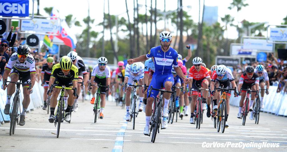 Long Beach - California - USA - wielrennen - cycling - cyclisme - radsport - Peter SAGAN (Slowakia / Team Bora - hansgrohe) - Caleb EWAN (Australia / Team Mitchelton - Scott) - Max WALSCHEID (Germany / Team Sunweb) - Mark CAVENDISH (GBR / Team Dimension Data) - Fernando GAVIRIA RENDON (Columbia / Team Quick - Step Floors) - Marcel KITTEL (Germany / Team Katusha - Alpecin) pictured during Amgen Tour of California 2018 stage 1 from Long Beach to Long Beach (133 KM) - photo Brian Hodes/Cor Vos