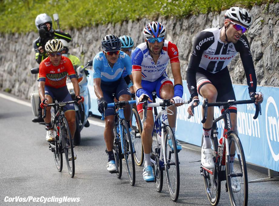 Sappada - Italië - wielrennen - cycling - cyclisme - radsport -  Tom Dumoulin (NED - Team Sunweb) - Thibaut Pinot (FRA - Groupama - FDJ) - Domenico Pozzovivo (ITA - Bahrain - Merida) - Richard Carapaz (ECU - Movistar) pictured during the 101st Giro d'Italia 2018 - stage 15 from Tolmezzo to Sappada (176 KM) - photo LB/RB/Cor Vos © 2018