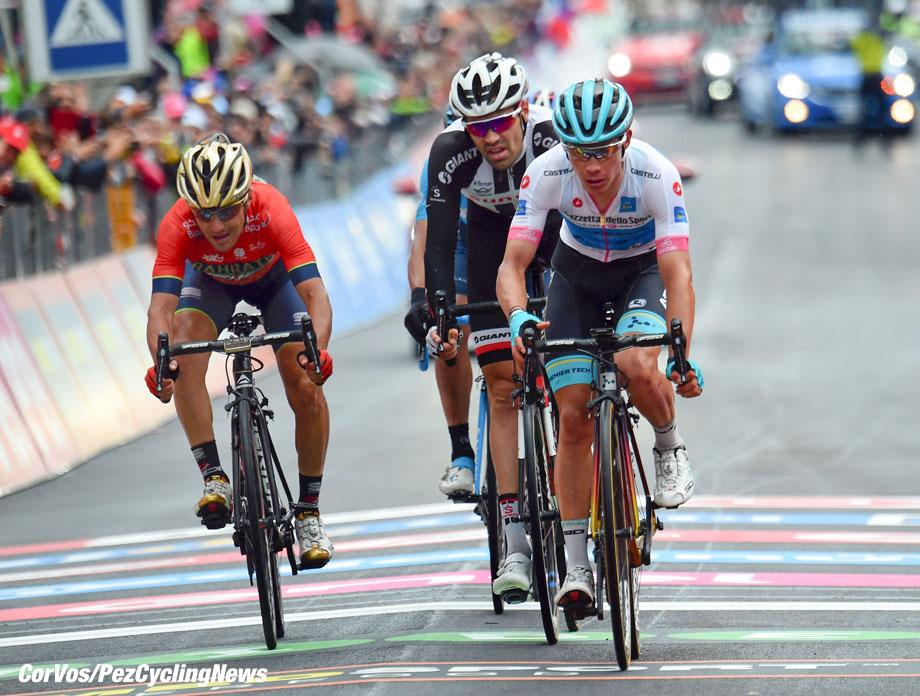 Sappada - Italië - wielrennen - cycling - cyclisme - radsport -  Miguel Angel Lopez (COL - Astana Pro Team) - Domenico Pozzovivo (ITA - Bahrain - Merida) - Tom Dumoulin (NED - Team Sunweb)  pictured during the 101st Giro d'Italia 2018 - stage 15 from Tolmezzo to Sappada (176 KM) - photo DB/LB/RB/Cor Vos © 2018