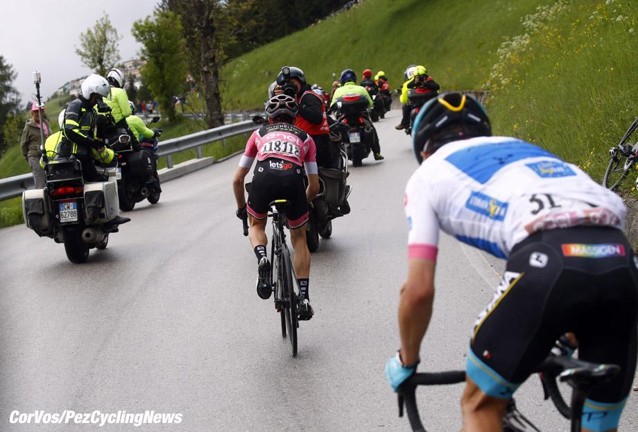 Sappada - Italië - wielrennen - cycling - cyclisme - radsport -  Simon Yates (GBR - Mitchelton - Scott) - Miguel Angel Lopez (COL - Astana Pro Team)  pictured during the 101st Giro d'Italia 2018 - stage 15 from Tolmezzo to Sappada (176 KM) - photo LB/RB/Cor Vos © 2018