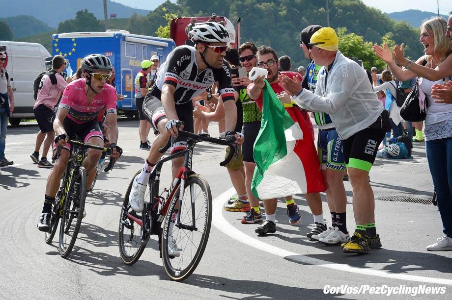 Prato Nevoso - Italië - wielrennen - cycling - cyclisme - radsport - Tom DUMOULIN (Netherlands / Team Sunweb) - Simon YATES (GBR / Team Mitchelton - Scott) pictured during the 101st Giro d'Italia 2018 - stage 18 from Abbiategrasso to Prato Nevoso (196 KM) - photo LB/RB/Cor Vos © 2018