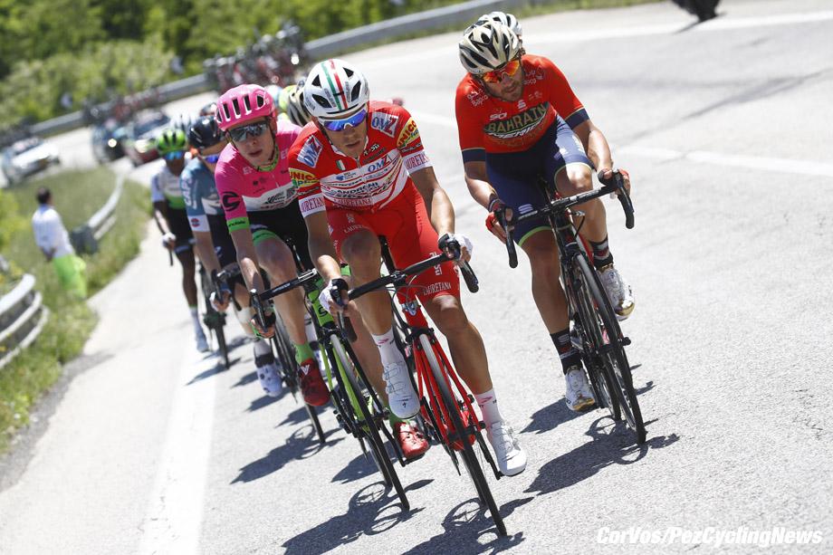Gran Sasso d'Italia  - Italië - wielrennen - cycling - cyclisme - radsport - Davide Ballerini (ITA - Androni - Sidermec - Bottecchia) - Manuele Boaro (ITA - Bahrain - Merida)  pictured during the 101st Giro d'Italia 2018 - stage 9 from Pesco Sannita to Gran Sasso d'Italia (225 KM) - photo LB/RB/Cor Vos © 2018