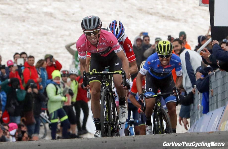 Gran Sasso d'Italia - Italië - wielrennen - cycling - cyclisme - radsport - Simon Yates (GBR - Mitchelton - Scott) - Thibaut Pinot (FRA - Groupama - FDJ) pictured during the 101st Giro d'Italia 2018 - stage 9 from Pesco Sannita to Gran Sasso d'Italia (225 KM) - photo LB/RB/Cor Vos © 2018