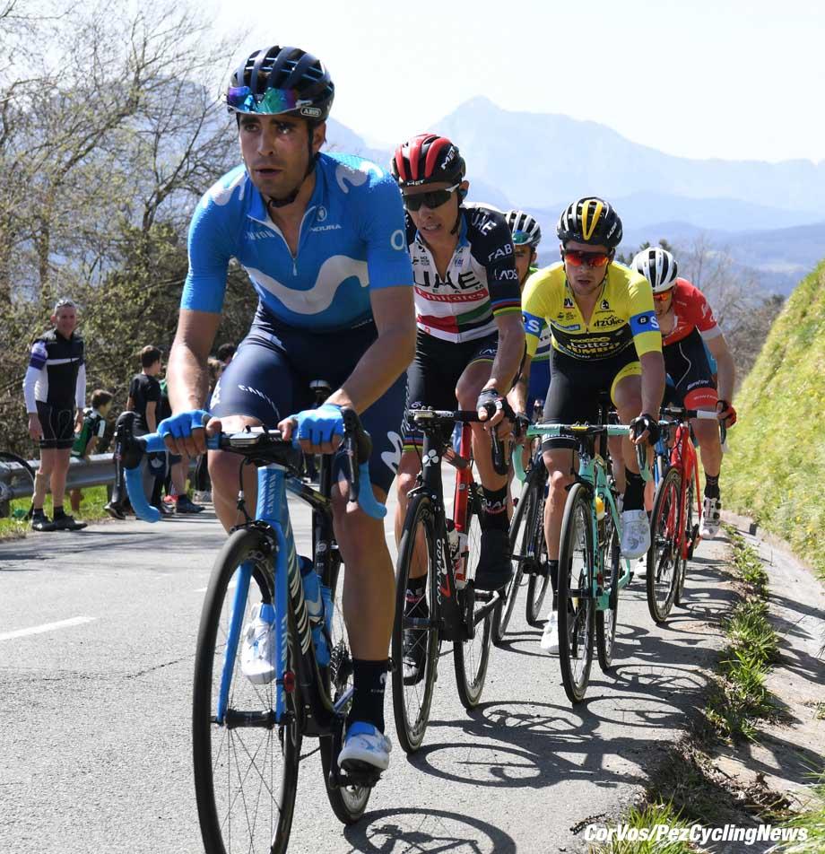 Eibar - Spain - wielrennen - cycling - cyclisme - radsport - Mikel LANDA MEANA (Team Movistar) - Rui Alberto FARIA DA COSTA (Portugal / UAE Team Emirates) - Primoz ROGLIC (Slowenia / Team Lotto NL - Jumbo) = Bauke MOLLEMA (Nerherlands / Team Trek Segafredo) pictured during the 58th Itzulia Basque Country stage 5 from Vitoria to Eibar (164.7 KM) - photo Miwa iijima/Cor Vos © 2018