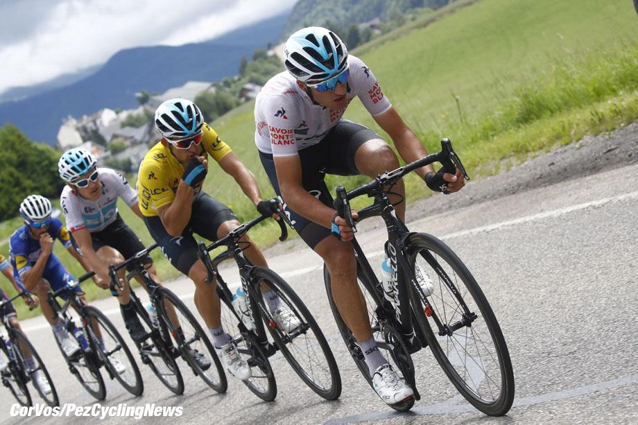 Lans-en-Vercors - France - wielrennen - cycling - cyclisme - radsport - Gianni Moscon (ITA - Team Sky) - Michal Kwiatkowski (POL - Team Sky) pictured during 70th Critérium du Dauphiné (2.UWT) - stage-4 - from Chazey-sur-Ain to Lans-en-Vercors 181 KM - photo LB/RB/Cor Vos © 2018