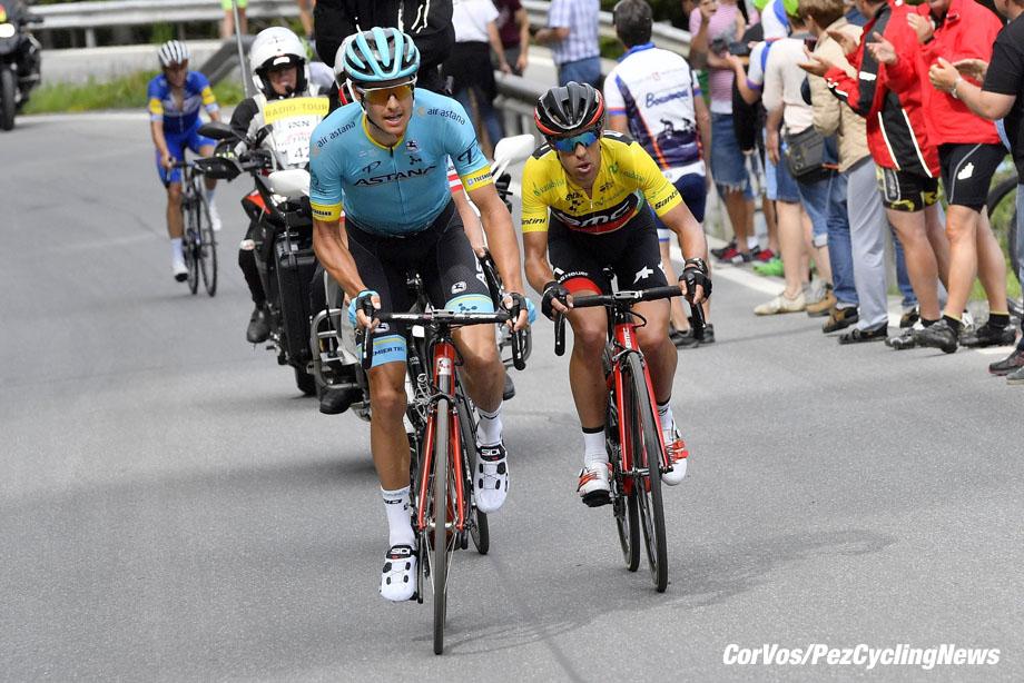 Arosa - Swiss - wielrennen - cycling - cyclisme - radsport - FUGLSANG Jakob (DEN) of Astana Pro Team - PORTE Richie (AUS) of BMC Racing Team pictured during the 82nd Tour de Suisse (2.UWT) stage 7 from Eschenbach/Atzmännig to Arosa170KM - photo VK/PN/Cor Vos © 2018