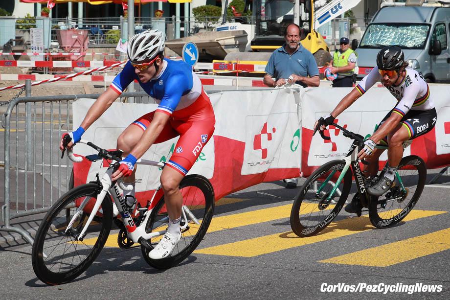 Bellinzona - Swiss - wielrennen - cycling - cyclisme - radsport - Arnaud DEMARE (France / Team FDJ) - Peter SAGAN (Slowakia / Team Bora - hansgrohe)  pictured during the 82nd Tour de Suisse (2.UWT) stage 8 from  Bellinzona to Bellinzona 123KM - photo Heinz Zwicky/Cor Vos © 2018